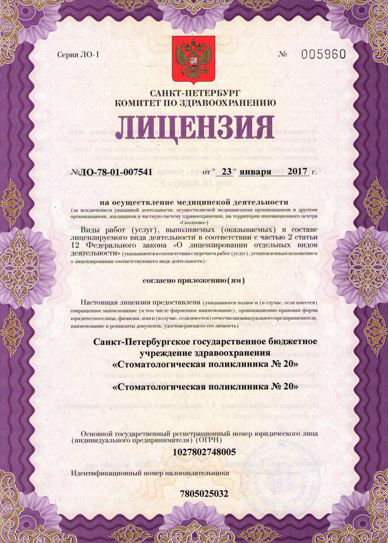 Лицензия №ЛО-78-01-007541 от 23 января 2017 года